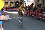 Wout Van Aert (BEL) Team Jumbo-Visma rounds the final corner to finish 3rd in Siena Strade Bianche 2019 running 184km from Siena to Siena, held over the white gravel roads of Tuscany, Italy. 9th March 2019.<br /> Picture: Seamus Yore   Cyclefile<br /> <br /> <br /> All photos usage must carry mandatory copyright credit (© Cyclefile   Seamus Yore)