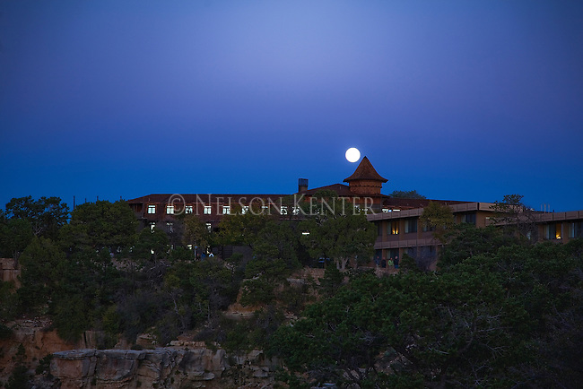 The full moon over the El Tovar Motel in Grand Canyon Village