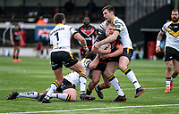 Sam Davis of London Broncos during the Betfred Challenge Cup match between London Broncos and York City Knights at The Rock, Rosslyn Park, London, England on 28 March 2021. Photo by Liam McAvoy.