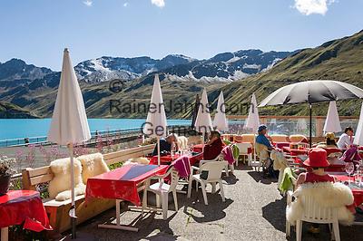 Switzerland, Canton Valais, Val de Moiry above Grimentz at Val d'Anniviers: lakeside café at reservoir Lac de Moiry, elevation of 2.249 m | Schweiz, Kanton Wallis, Val de Moiry oberhalb von Grimentz (im Val d'Anniviers): Café am Stausee Lac de Moiry auf 2.249 m