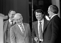 Parti Quebecois  leader  Rene Levesque  victory speech on election night, April 13, 1981. around him : jacques Parizeau, Bernard Landry and Denis Lazure<br /> <br /> He  got elected for a second term