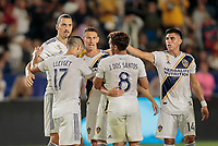 CARSON, CA - SEPTEMBER 21: Zlatan Ibrahimovic #9 and the Los Angeles Galaxy celebrate his goal during a game between Montreal Impact and Los Angeles Galaxy at Dignity Health Sports Park on September 21, 2019 in Carson, California.