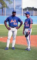 New York Mets Bobby Bonilla (25) and Howard Johnson (20) during spring training circa 1992.  (MJA/Four Seam Images)