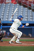 Hartford Yard Goats left fielder David Dahl (1) at bat during the second game of a doubleheader against the Trenton Thunder on June 1, 2016 at Sen. Thomas J. Dodd Memorial Stadium in Norwich, Connecticut.  Trenton defeated Hartford 2-1.  (Mike Janes/Four Seam Images)
