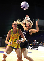 Caitlin Bassett of Australian Diamonds and Jane Watson of Silver Ferns during the Constellation Cup international netball series match between New Zealand Silver Ferns and Australian Diamonds at Christchurch Arena in Christchurch, New Zealand on Tuesday, 2 March 2021. Photo: Martin Hunter / lintottphoto.co.nz