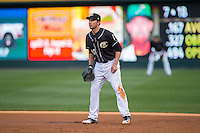 Charlotte Knights first baseman Travis Ishikawa (10) on defense against the Norfolk Tides at BB&T BallPark on April 20, 2016 in Charlotte, North Carolina.  The Knights defeated the Tides 6-3.  (Brian Westerholt/Four Seam Images)