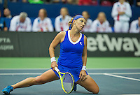 Moskou, Russia, Februari 4, 2016,  Fed Cup Russia-Netherlands, Kuznetsova  (RUS) on her knees<br /> Photo: Tennisimages/Henk Koster