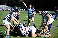 Manson Lund of Nelson College celebrates after a try is scored, during the 1st XV South Island Final rugby match between Otago Boys High School 1st XV and Nelson College 1st XV at Littlebourne in Dunedin, New Zealand on Saturday, 31 August 2019. Photo: Joe Allison / lintottphoto.co.nz