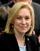 Washington, D.C. - January 4, 2010 -- United States Senator Kirsten Gillibrand (Democrat of New York) awaits the arrival of U.S. President Barack Obama who is scheduled to deliver remarks and takes questions from the Senate Democratic Policy Committee Issues Conference at the Newseum in Washington, D.C. on Wednesday, February 3, 2010..Credit: Ron Sachs / Pool via CNP