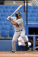 Brevard County Manatees catcher Rafael Neda (12) at bat during a game against the Dunedin Blue Jays on April 23, 2015 at Florida Auto Exchange Stadium in Dunedin, Florida.  Brevard County defeated Dunedin 10-6.  (Mike Janes/Four Seam Images)