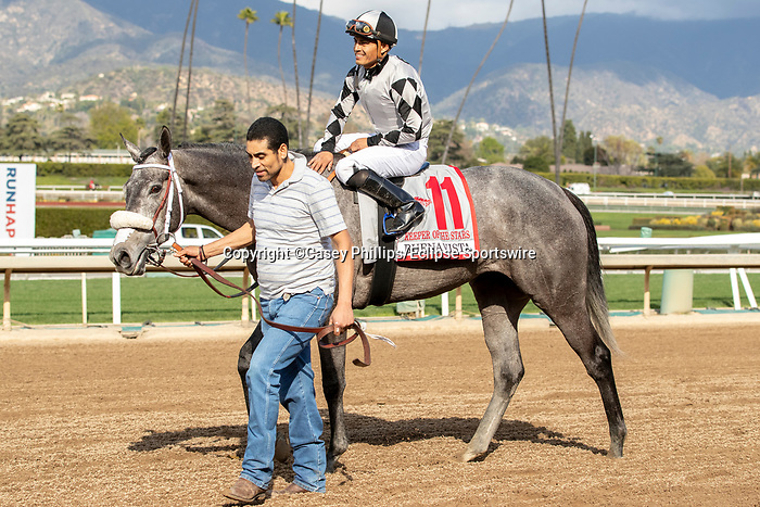 ARCADIA, CA  FEBRUARY 22: #11 Keeper Ofthe Stars, ridden by Abel Cedillo, returns to congratulations from the connections after winning the Buena Vista Stakes (Grade ll) on February 22, 2020 at Santa Anita Park in Arcadia, CA.