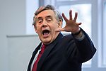 """© Joel Goodman - 07973 332324 . 16/11/2017. Manchester, UK. Former British Prime Minister GORDON BROWN hosts a talk about the financial crash and his time in politics, as Chancellor and then Prime Minister, as part of his promotional tour for his book , """" My Life, Our Times """", at the Manchester Central Library . Photo credit : Joel Goodman"""