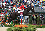 Peter Atkins and Henry Jota Hampton of Australia compete in the final stadium jumping round of the FEI  World Eventing Championship at the Alltech World Equestrian Games in Lexington, Kentucky.