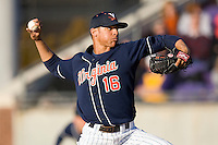 Branden Kline #16 of the Virginia Cavaliers in action versus the East Carolina Pirates at Clark-LeClair Stadium on February 20, 2010 in Greenville, North Carolina.   Photo by Brian Westerholt / Four Seam Images