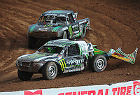 Mar. 20, 2011; Chandler, AZ, USA;  LOORRS pro lite driver Casey Currie leads Cameron Steele during round two at Firebird International Raceway. Mandatory Credit: Mark J. Rebilas-