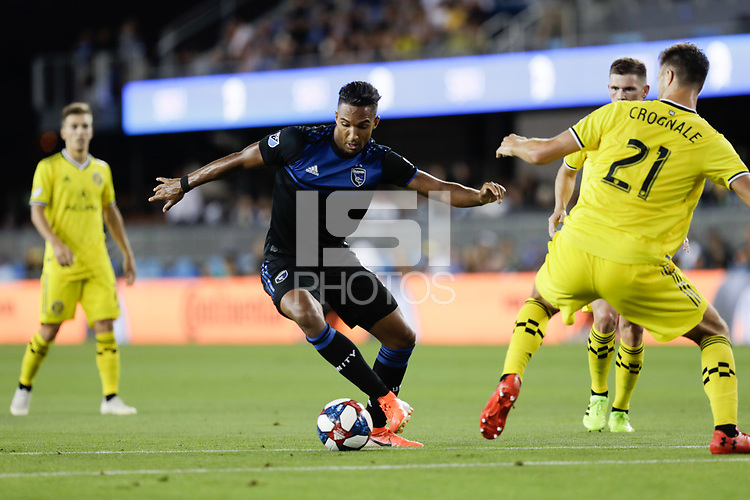 SAN JOSE, CA - AUGUST 03: Danny Hoesen  during a Major League Soccer (MLS) match between the San Jose Earthquakes and the Columbus Crew on August 03, 2019 at Avaya Stadium in San Jose, California.
