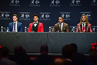 New York, NY - December 14, 2019: Heisman Trophy finalist Joe Burrow, Justin Fields, Chase Young, Jalen Hurts participate in a media availability at the New York Marriott Marquis before the announcement of the 2019 Heisman Trophy Award December 14, 2019.  (Photo by Don Baxter/Media Images International)