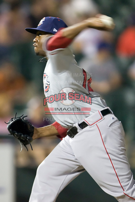 Pitcher Wesley Wright #14 of the Oklahoma City RedHawks delivers against the Round Rock Express on April 26, 2011 at the Dell Diamond in Round Rock, Texas. (Photo by Andrew Woolley / Four Seam Images)