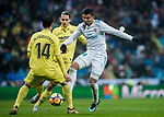 Carlos Henrique Casemiro (R) of Real Madrid fights for the ball with Enes Unal (C) and Manuel Trigueros Munoz of Villarreal CF during the La Liga 2017-18 match between Real Madrid and Villarreal CF at Santiago Bernabeu Stadium on January 13 2018 in Madrid, Spain. Photo by Diego Gonzalez / Power Sport Images