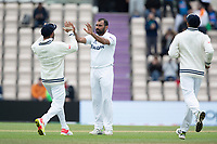 Virat Kohli, India quick to congratulate Mohammad Shami, India on the wicket of Ross Taylor during India vs New Zealand, ICC World Test Championship Final Cricket at The Hampshire Bowl on 22nd June 2021