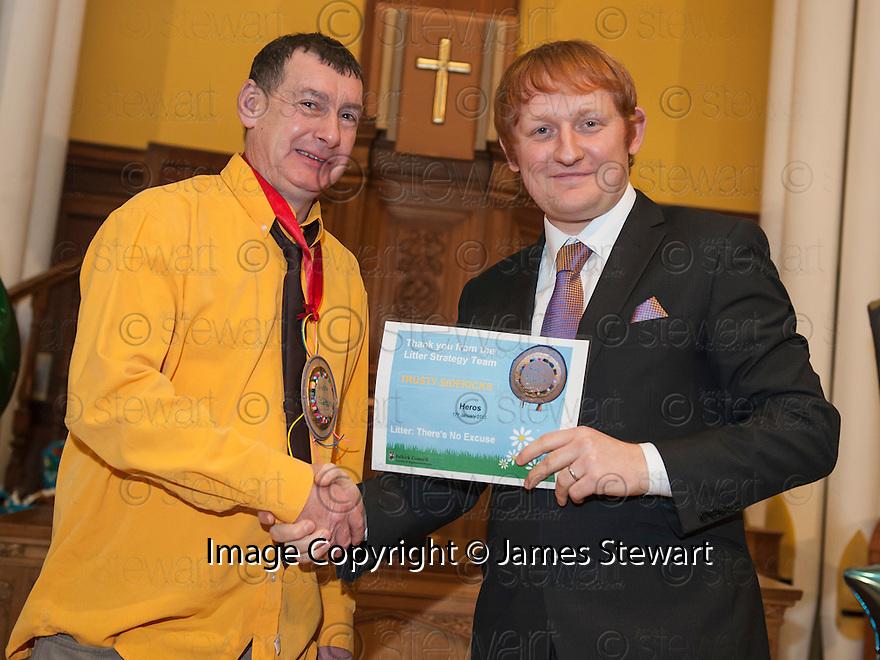 "Litter Strategy Awards 2013 : Councillor Craig R Martin presents the ""Trusty Sidekicks"" award Hero's Regeneration Squad."