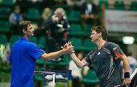 17-12-13,Netherlands, Rotterdam,  Topsportcentrum, Tennis Masters, ,  Nick van der Meer(R) congretulates  Antal van der Duim<br /> Photo: Henk Koster