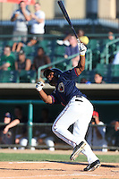 Teoscar Hernandez #15 of the Lancaster JetHawks bats against the Inland Empire 66ers at The Hanger on May 26, 2014 in Lancaster, California. Lancaster defeated Inland Empire, 6-5. (Larry Goren/Four Seam Images)