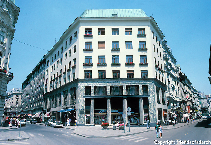 Adolph Loos: Goldman Building (Loos House), 1911. Michaelerplatz 3, Vienna. Mixed use building