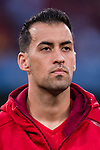 Sergio Busquets of Spain listens to the national anthem before the 2018 FIFA World Cup Russia Final Qualification Round 1 Group G match between Spain and Italy on 02 September 2017, at Santiago Bernabeu Stadium, in Madrid, Spain. Photo by Diego Gonzalez / Power Sport Images