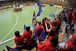 GER - Luebeck, Germany, February 06: Before the 1. Bundesliga Damen indoor hockey semi final match at the Final 4 between Berliner HC (blue) and Duesseldorfer HC (red) on February 6, 2016 at Hansehalle Luebeck in Luebeck, Germany. Final score 1-3 (HT 0-1). (Photo by Dirk Markgraf / www.265-images.com) *** Local caption ***