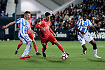 CD Leganes's Ruben Perez and Real Madrid's Dani Carvajal during La Liga match between CD Leganes and Real Madrid at Butarque Stadium in Leganes, Spain. April 15, 2019. (ALTERPHOTOS/A. Perez Meca)