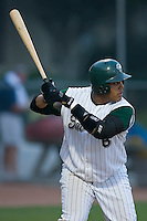 Catcher Francisco Pena (6) of the Savannah Sand Gnats at bat at Grayson Stadium in Savannah, GA, Wednesday August 6, 2008  (Photo by Brian Westerholt / Four Seam Images)