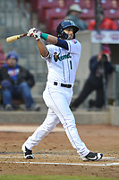 Cedar Rapids Kernels designated hitter Mark Contreras (1) swings at a pitch against the Clinton LumberKings at Veterans Memorial Stadium on April 13, 2018 in Cedar Rapids, Iowa. Clinton won 2-0.  (Dennis Hubbard/Four Seam Images)
