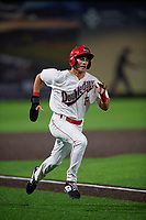 Auburn Doubledays Jeremy Ydens (17) running the bases during a NY-Penn League game against the Connecticut Tigers on July 12, 2019 at Falcon Park in Auburn, New York.  Auburn defeated Connecticut 7-5.  (Mike Janes/Four Seam Images)
