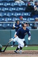 Austin Cousino #19 of the Everett AquaSox bats against the Boise Hawks at Everett Memorial Stadium on July 25, 2014 in Everett, Washington. Everett defeated Boise, 2-1. (Larry Goren/Four Seam Images)
