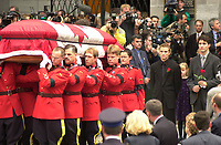 October 10, 2000 - file Photo - Montreal (Quebec) CANADA <br />  Funeral of former Canadien Prime Minister Pierre Eliott Trudeau :Sacha (L) and Justin (R) TRudeau