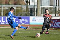 FC Knokke - OMS Ingelmunster : Jorgo Waeghe (links) scoort de 3-0 voorbij doelman Maxence Dannel (r)<br /> Foto VDB / Bart Vandenbroucke