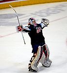 December 14, 2019:  Goalie Alex Cavallini [#33] celebrates Team USA's victory over Canada 4-1. The feisty opening game of a five-match series took place at the XL Center in Hartford, Connecticut. Cohen/Eclipse Sportswire/CSM