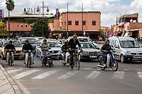 Marrakesh, Morocco.  Street Traffic near the Place Jemaa El Fna.