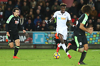 Tammy Abraham of Swansea City moves forwards during the Premier League match between Swansea City and Bournemouth at the Liberty Stadium, Swansea, Wales, UK. Saturday 25 November 2017