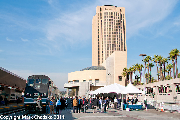 Metrolink press conference at Union Station, Los Angeles.