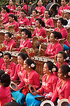 Gamelan 01 - Womens gamelan orchestra at Saraswati Temple, Ubud, Bali, Indonesia