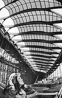 High above Olympics hostess Carole Gauthier is the translucent roof of the velodrome. The cost of building the facilities for the Games has almost doubled from the original estimate of $250 million.<br /> <br /> Photo : Boris Spremo - Toronto Star archives - AQP