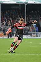 20130324 Copyright onEdition 2013©.Free for editorial use image, please credit: onEdition..Owen Farrell of Saracens takes a penalty kick during thePremiership Rugby match between Saracens and Harlequins at Allianz Park on Sunday 24th March 2013 (Photo by Rob Munro)..For press contacts contact: Sam Feasey at brandRapport on M: +44 (0)7717 757114 E: SFeasey@brand-rapport.com..If you require a higher resolution image or you have any other onEdition photographic enquiries, please contact onEdition on 0845 900 2 900 or email info@onEdition.com.This image is copyright onEdition 2013©..This image has been supplied by onEdition and must be credited onEdition. The author is asserting his full Moral rights in relation to the publication of this image. Rights for onward transmission of any image or file is not granted or implied. Changing or deleting Copyright information is illegal as specified in the Copyright, Design and Patents Act 1988. If you are in any way unsure of your right to publish this image please contact onEdition on 0845 900 2 900 or email info@onEdition.com