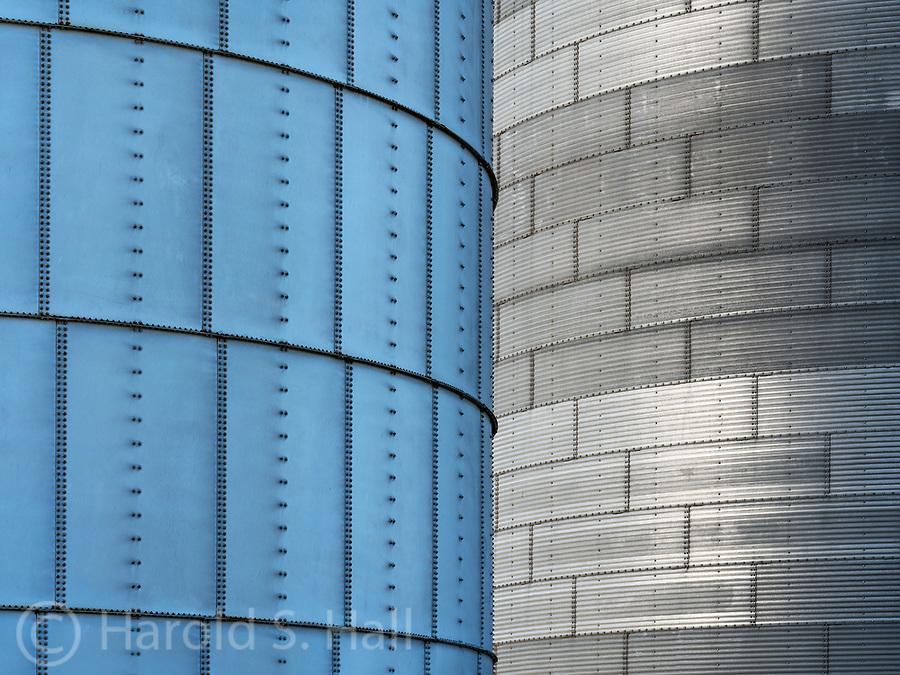 Designs of grain elevators in the Palouse area of Washington.