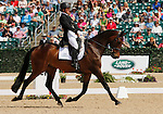 LEXINGTON, KY - APRIL 29: #68 Harbour Pilot and rider Hannah Sue Burnett in the warm up ring before their Dressage test in the Rolex Three Day Event, Dressage Day 2, at the Kentucky Horse Park in Lexington, KY.  April 29, 2016 in Lexington, Kentucky. (Photo by Candice Chavez/Eclipse Sportswire/Getty Images)