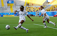 USA's Zakiya Bywaters (L) during the FIFA U20 Women's World Cup at the Rudolf Harbig Stadium in Dresden, Germany on July 14th, 2010.