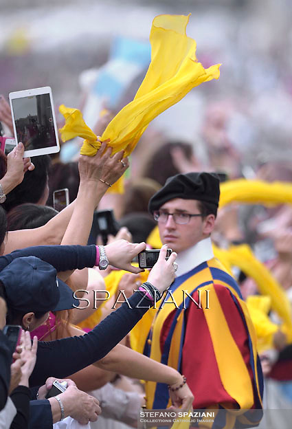 Pontifical Swiss Guard;Pope Francis during his weekly general audience in St. Peter square at the Vatican, Wednesday.October 22, 2014
