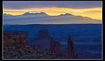 La Sal Mountain sunrise from Mesa Arch overlook, Canyonlands National Park, Utah,<br />