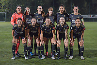 team picture O.H.L. ( OHL's goalkeeper Louise Van Den Bergh (1) , OHL's defender Janne Geers (14) , OHL's defender Sari Kees (2) , OHL's midfielder Zenia Mertens (6) , OHL's defender Amber Tysiak (3) , OHL's midfielder Lenie Onzia (18) and OHL's midfielder Luna Vanzeir (10) , OHL's forward Jill Janssens (7) , OHL's forward Hannah Eurlings (9) , OHL's forward Estee Cattoor (11) , OHL's midfielder Sara Yuceil (13) ) before a female soccer game between  Racing Genk Ladies and Oud Heverlee Leuven on the fourth matchday of the 2020 - 2021 season of Belgian Scooore Womens Super League , friday 9 th of October 2020  in Genk , Belgium . PHOTO SPORTPIX.BE | SPP | STIJN AUDOOREN
